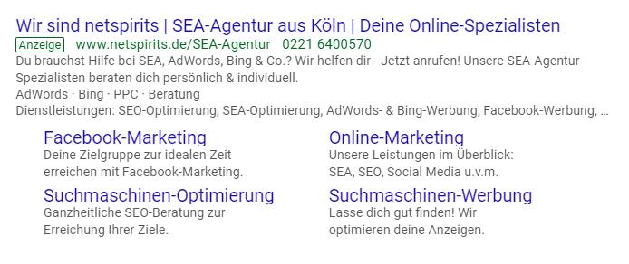 Anzeigenerweiterungen bei Google Ads