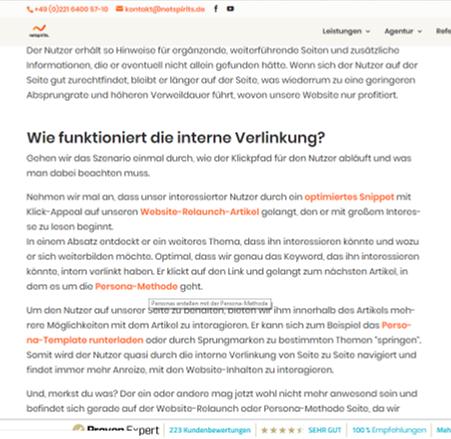 Aufbau interne Verlinkung auf der Website