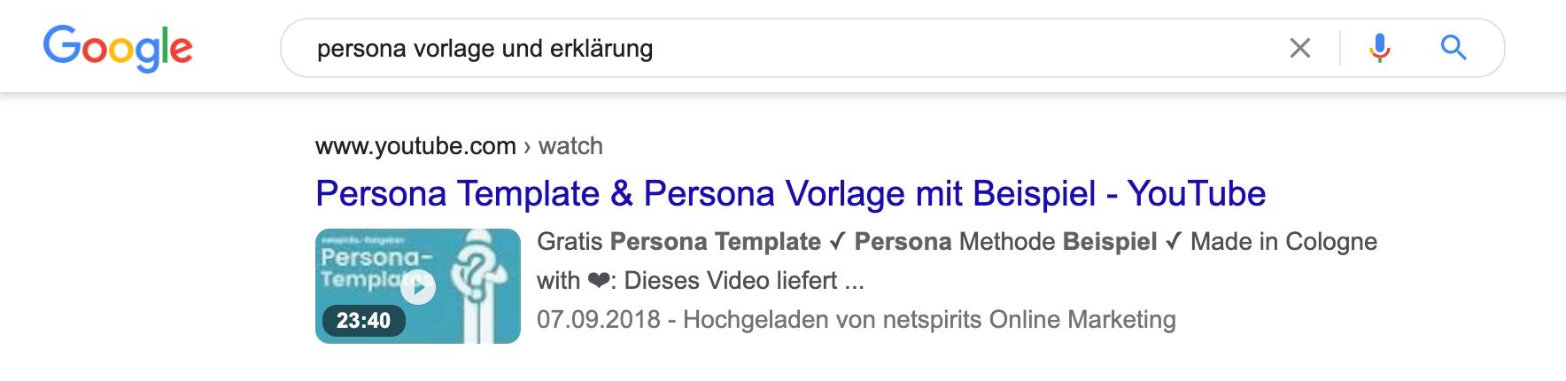 Beispiel: Video in Google-Suchergebnissen