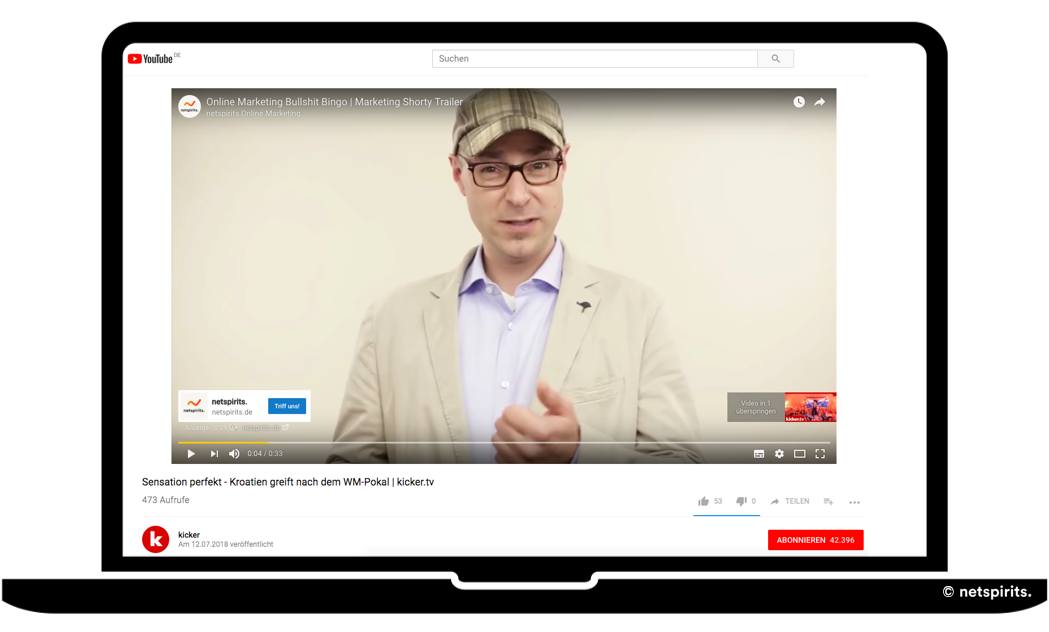 YouTube-Werbung: Überspringbare Werbeanzeige