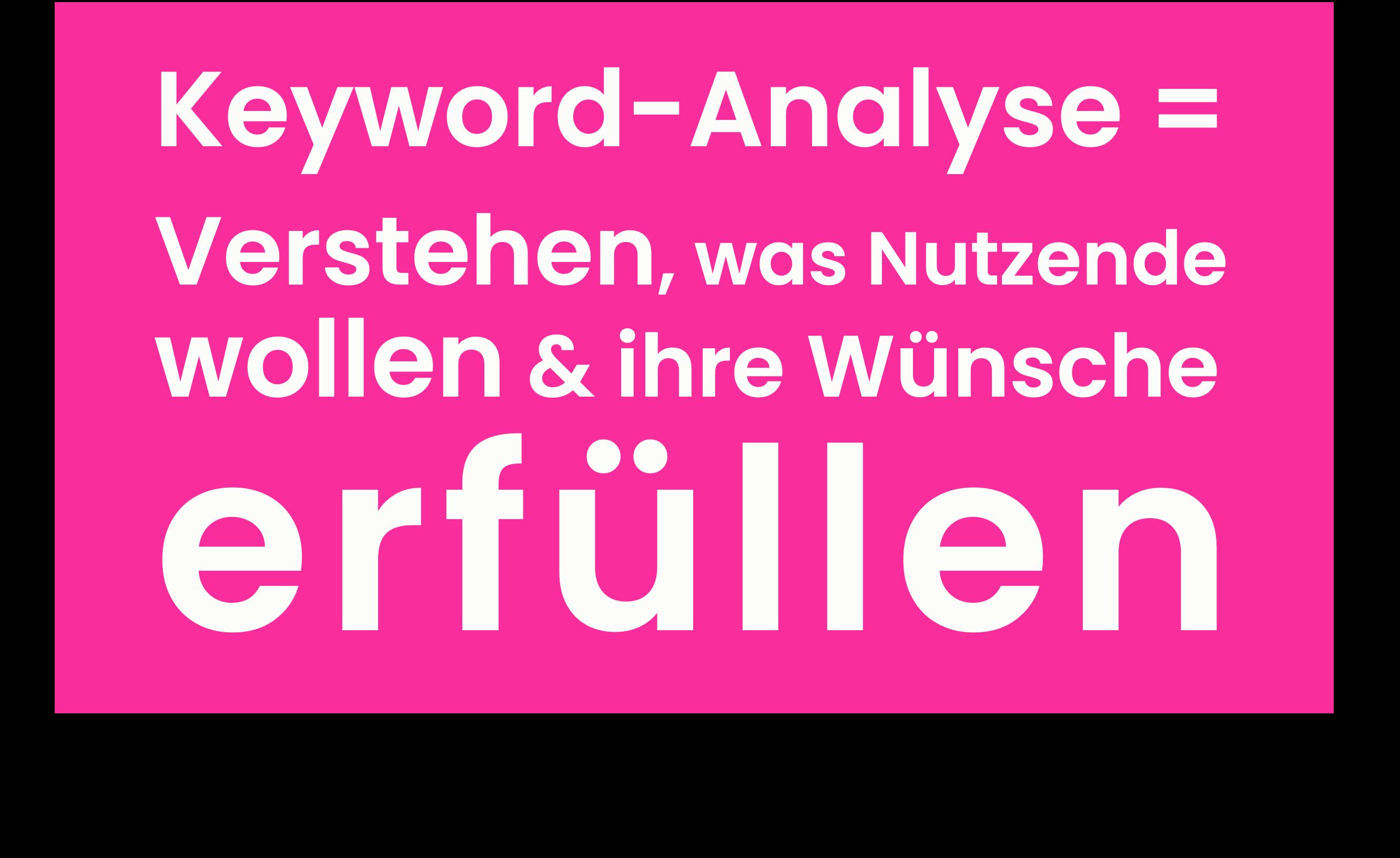 Keyword-Analyse bedeutet, sich in die Denk- & Suchwelt des Nutzers hineinzuarbeiten.