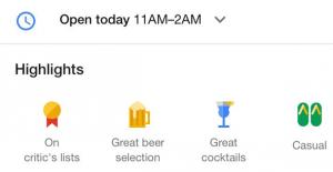 Highlight Icons bei lokalen Suchergebnissen