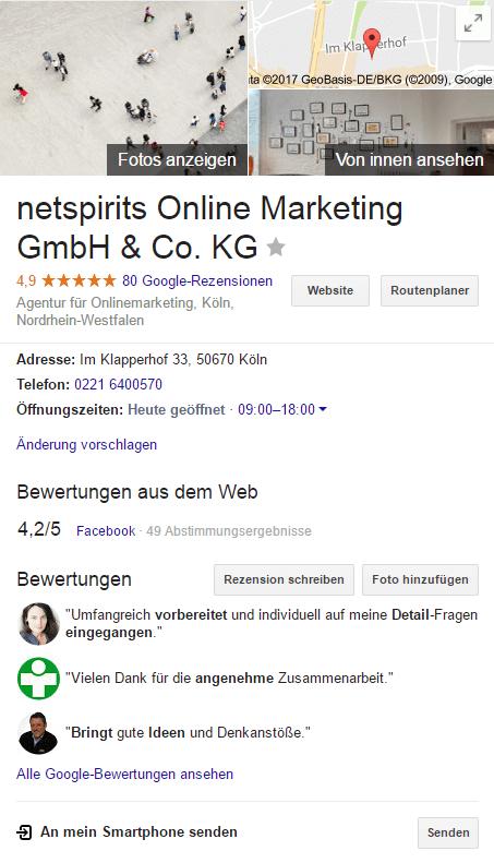 Lokales Suchergebnis für netspirits bei Google My Business