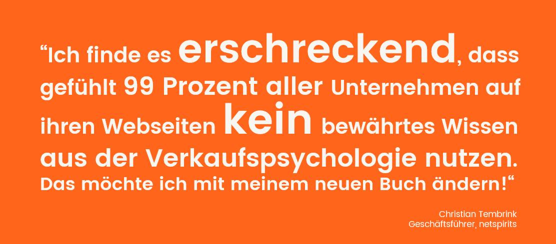 Zitat C. Tembrink über den Einsatz von Verkaufspsychologie im Online-Marketing