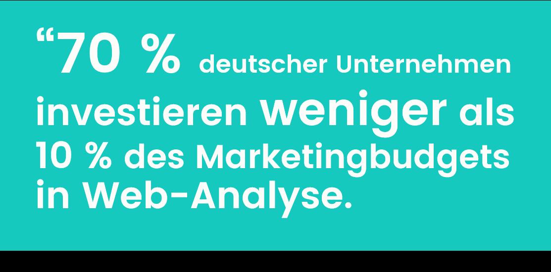 70 % der deutschen Unternehmen investieren dieses Jahr weniger als 10 % des Marketingbudgets in Web-Analyse.