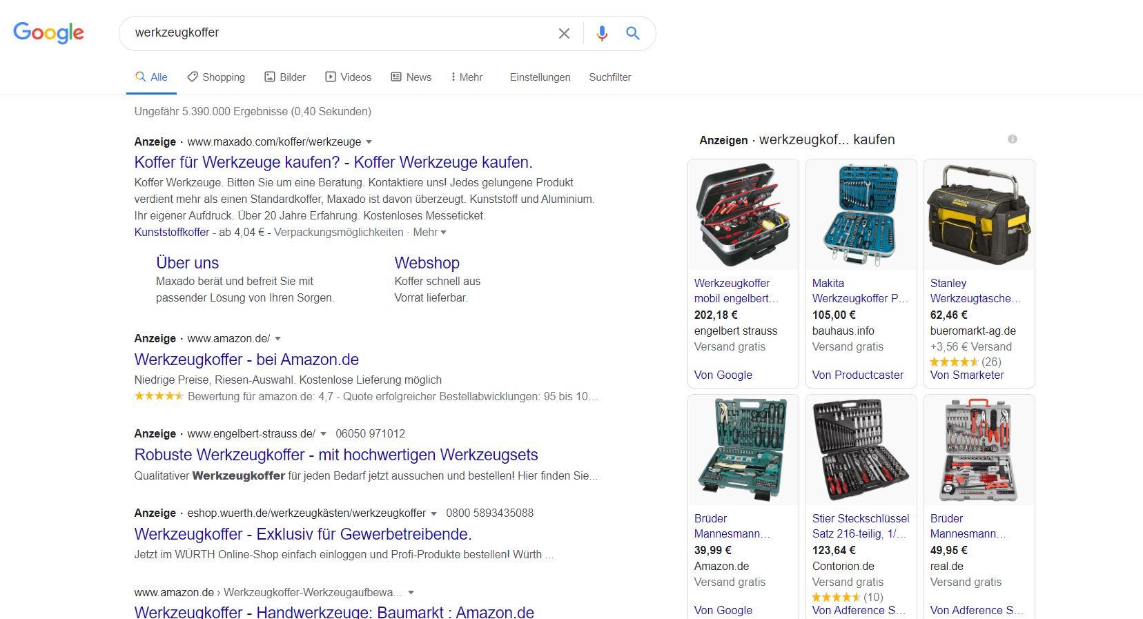Erweiterte Textanzeigen und Shopping-Kampagnen bei transaktionalen Suchbegriffen