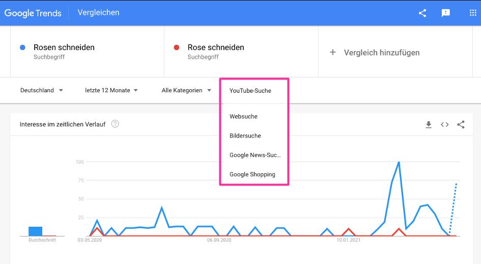 Tool für die Analyse des YouTube-Suchvolumens