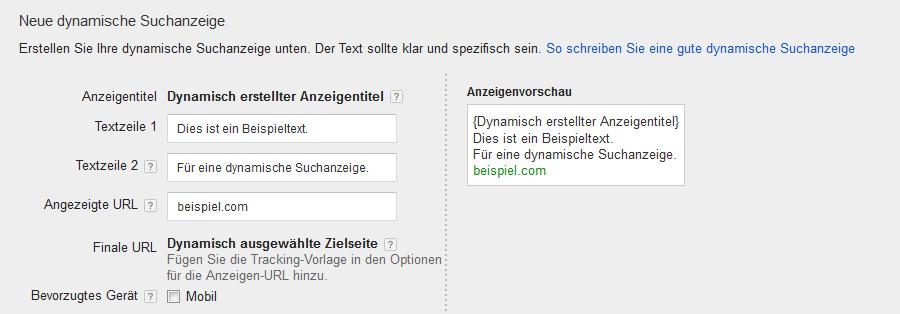 Format einer dynamischen Suchanzeige bei Google Ads