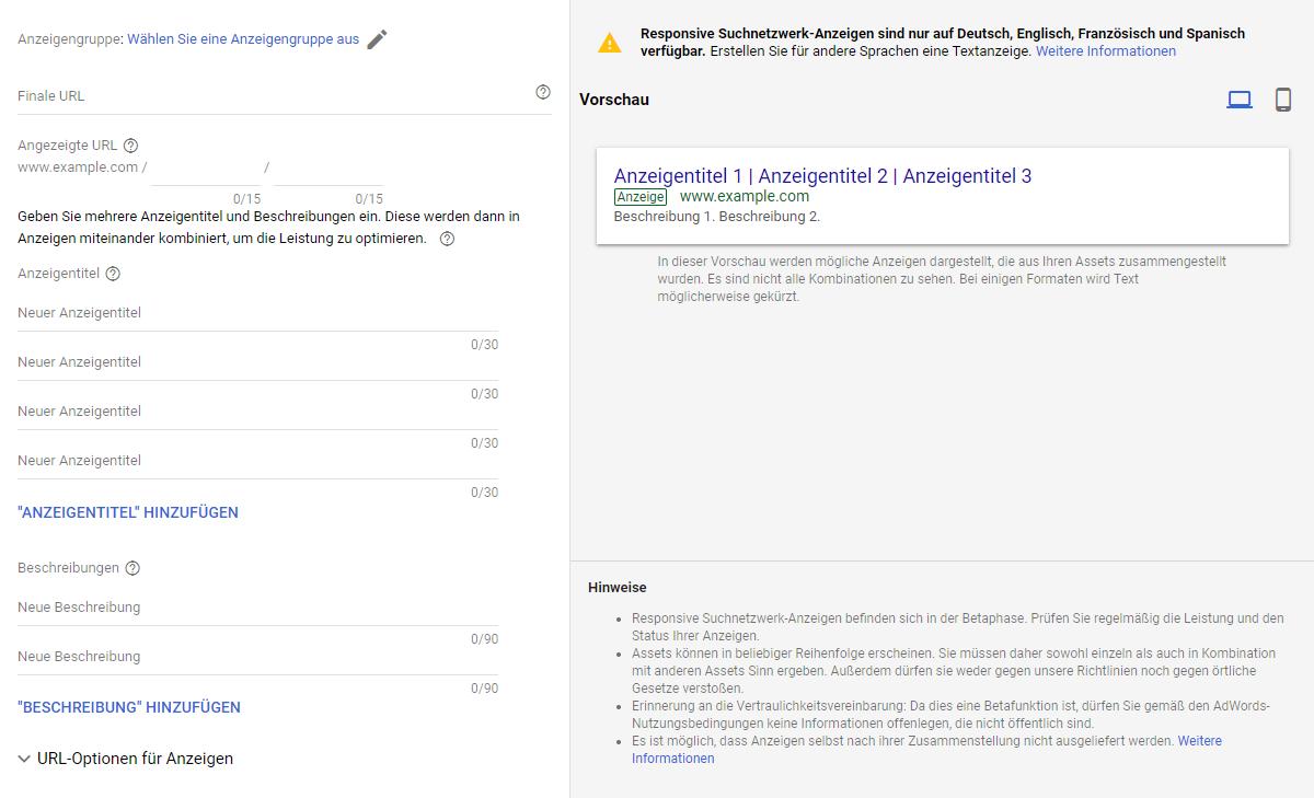 Format einer responsiven Suchanzeige bei Google Ads